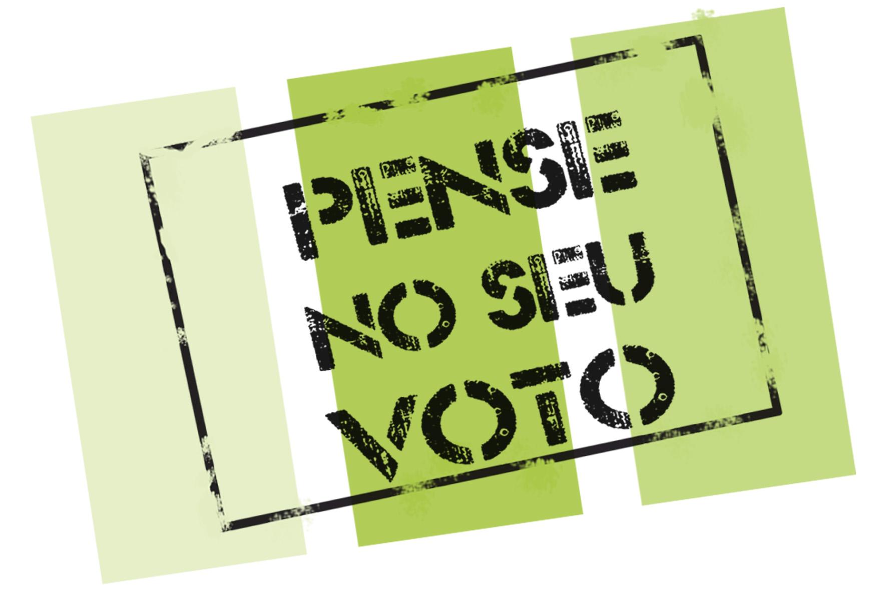 estampa falando pense no seu voto